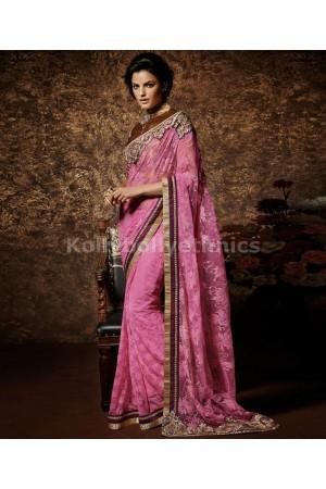 Pink exclusive wedding saree