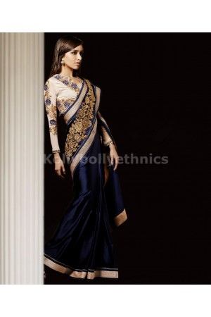 Blue and white shraddha kapoor saree