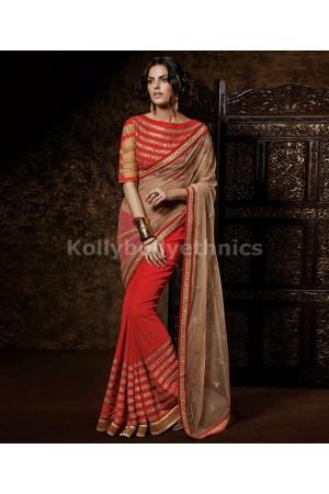 Red and brown designer wedding saree