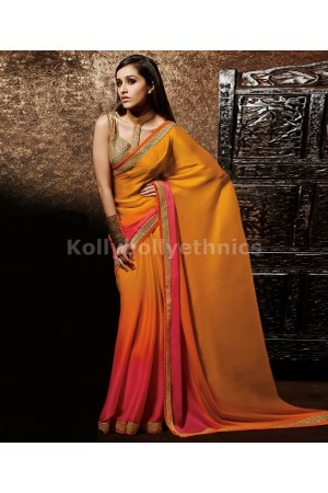 shaded pink and orange shraddha kapoor saree