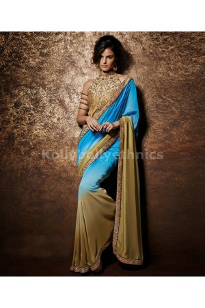 Blue and light brown designer saree