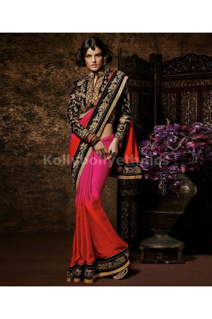 Shaded pink and orange designer saree