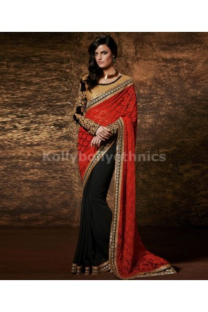 Black and red designer wedding wear saree