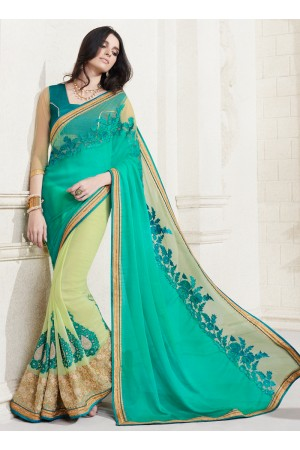 georgette-embroidery-work-party-wear-saree-green-2510