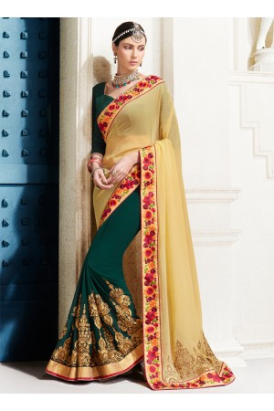 georgette-embroidery-work-party-wear-saree-green-2519