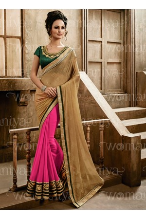 Affability Brown Georgette Saree