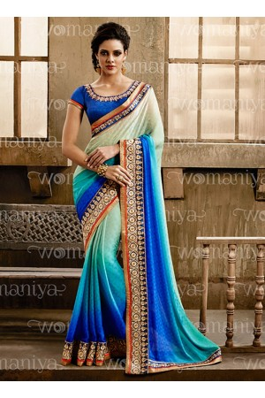 Affability Multi Color Jacquard Georgette Saree