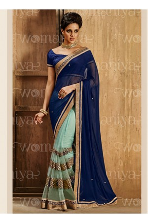 Affability Navy Blue Georgette On Net Saree
