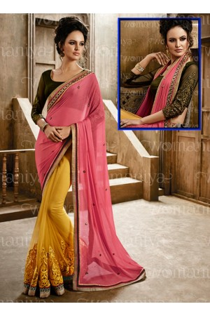 Affability Pink Georgette On Net Saree