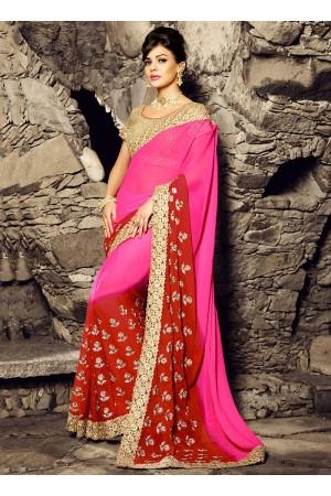 Brighten Hot Pink Chiffon Saree