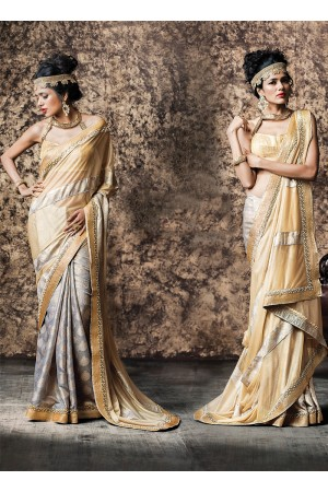 Urbanity Cream Smok Georgette Saree