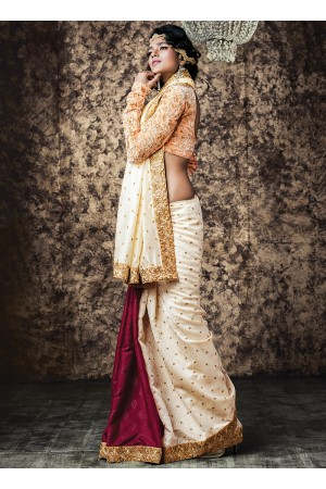 Urbanity Off White Satin Georgette Saree