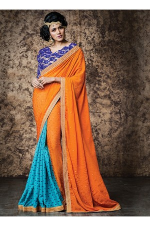 Urbanity Orange Jacquard Georgette Saree