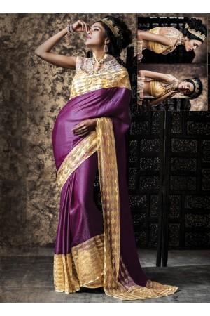 Urbanity Purple Chiffon Satin Saree