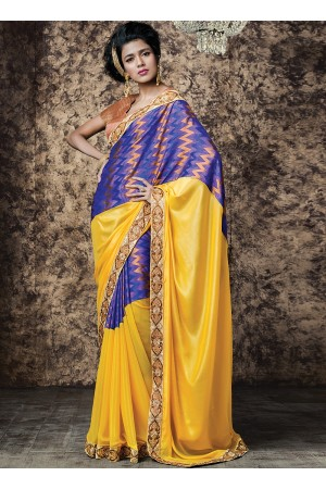 Urbanity Yellow Silk Georgette Saree
