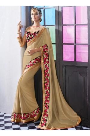georgette-embroidered-work-party-wear-saree-beige-chinon-9517