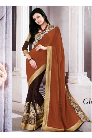 georgette-embroidered-work-party-wear-saree-brown-9509
