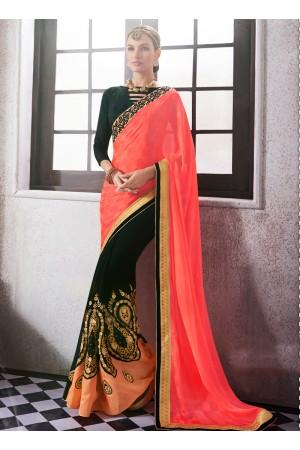 georgette-embroidered-work-party-wear-saree-orange-9513