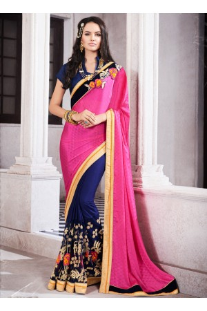 georgette-embroidered-work-party-wear-saree-pink-9516