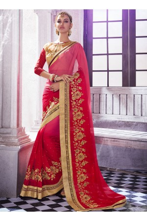 georgette-embroidered-work-party-wear-saree-red-9501