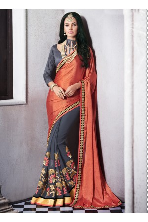 georgette-embroidered-work-party-wear-saree-rust-9512