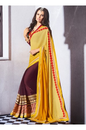 georgette-embroidered-work-party-wear-saree-yellow-9515