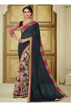 georgette-lace-border-work-party-wear-saree-black-1604