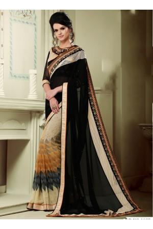 georgette-lace-border-work-party-wear-saree-black-1609