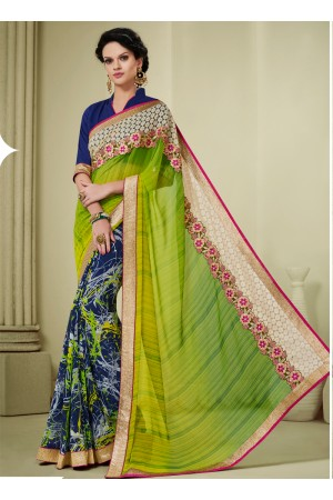 georgette-lace-border-work-party-wear-saree-green-1610
