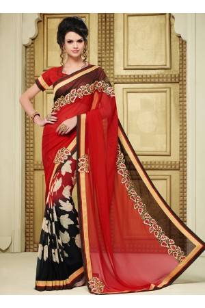 georgette-lace-border-work-party-wear-saree-red-1611