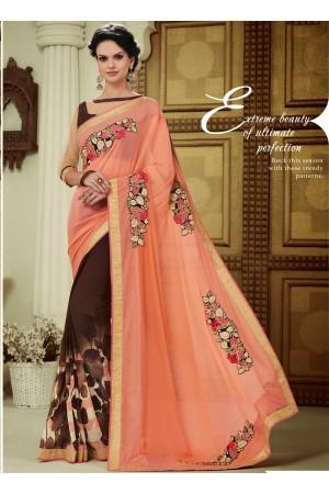 georgette-patch-work-party-wear-saree-peach-1606