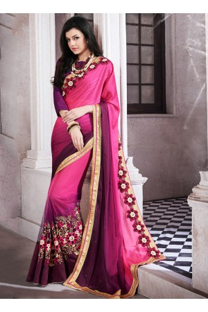 jacquard-embroidered-work-party-wear-saree-pink-9503