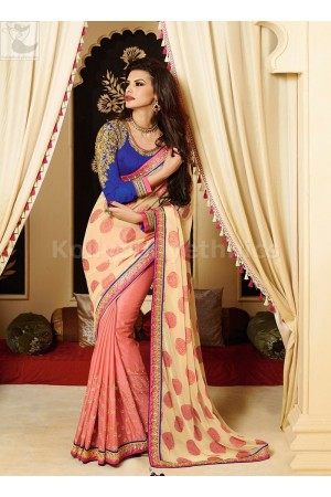 Peach and cream Party Wear Saree