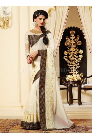 Black and off white Party Wear Saree