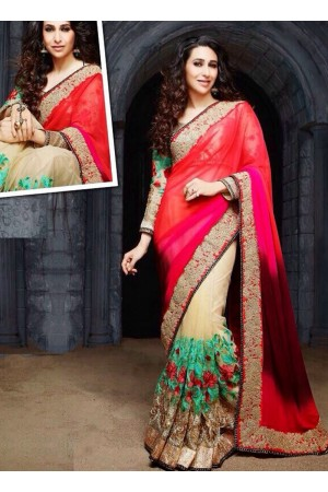 Karishma Kapoor Red Party wear saree