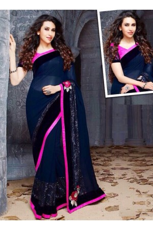 Karishma Kapoor Navy blue and pink sequence  Party wear saree