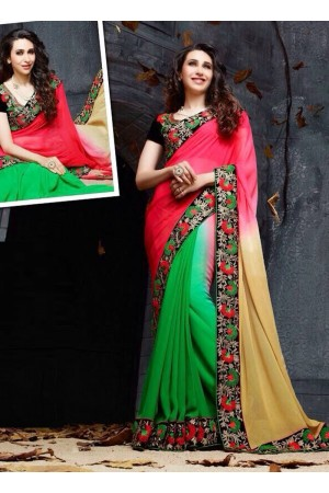 Karishma Kapoor black ,pink and green Party wear saree