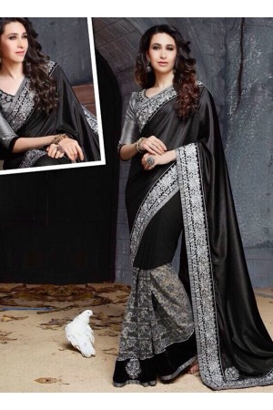Karishma Kapoor Black and gray Party wear saree
