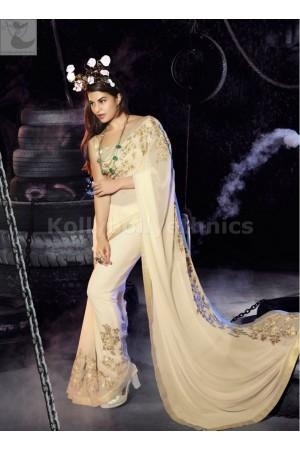 Jacqueline Fernandez Cream colour Party wear saree