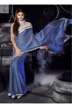 Jacqueline Fernandez Blue Party wear saree
