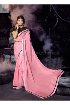 Jacqueline Fernandez pink Party wear saree