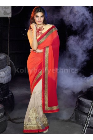 Jacqueline Fernandez Georgette and net half-half Party wear saree