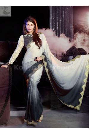 Jacqueline Fernandez Black and white zari Party wear saree