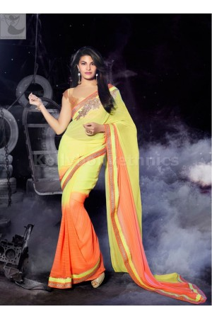Jacqueline Fernandez Party  orange and yellow wear saree