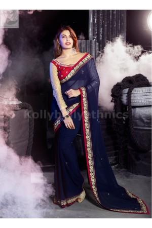 Jacqueline Fernandez NAvy Blue Party wear saree