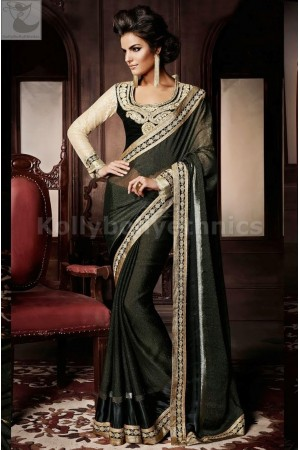 Black and beige Party Wear Saree
