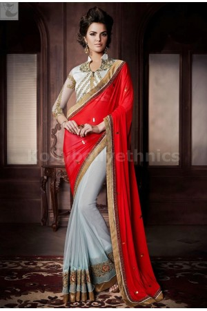 Red and blue Party Wear Saree