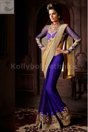 Purple and golden Party Wear Saree