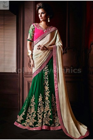 Green and cream lehenga style Party Wear Saree