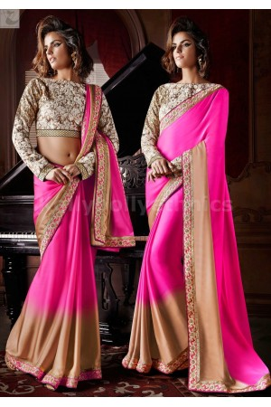 Pink and beige Party Wear Saree